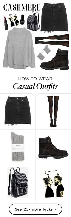 """""""Casual Cashmere"""" by gretchenshoes on Polyvore featuring Vince, Topshop, Timberland, Splendid, Deborah Lippmann and NARS Cosmetics"""