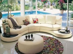 Curved sofas are popular and stylish furniture that allows to create unique, comfortable and modern living room designs in round and rectangular living spaces Living Room Modern, Living Room Designs, Living Spaces, Living Area, Living Rooms, Sofa Furniture, Living Room Furniture, Outdoor Furniture Sets, Furniture Design