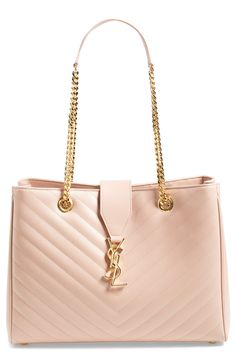 Oh, so pretty | Pale blush Saint Laurent leather tote.