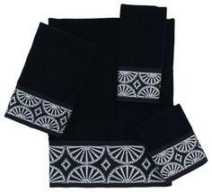 Gatsby 4 Piece Cotton Towel Set by Avanti Linens, Black - contemporary - Towels - Avanti Linens
