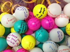 I'm always looking for an interesting way to begin my groups, and I always start with some type of icebreaker questions. I have been collecting ping pong balls whenever I find ones that do not have a