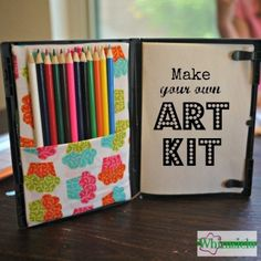 DIY-Art-Kit for the kids. Just get some material & grab an old DVD case! Art Kits For Kids, Diy For Kids, Crafts For Kids, Summer Crafts, Dvd Case Crafts, Vhs Crafts, Fun Craft, Craft Ideas, Craft Tutorials