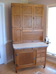 "Antique Early 1900s Genuine ""sellers"" Extra Tall Hoosier Kitchen Cabinet"