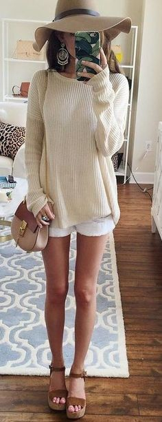 #summer #preppy #outfits | Cream Sweater + White Shorts