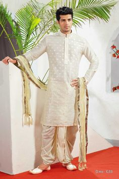 Dhoti kurta makes a nice statement wear for men, women and kids. Here the 15 best dhoti kurta designs in a different style for wedding and other occasions. Indian Groom Dress, Wedding Dresses Men Indian, Wedding Outfits For Groom, Groom Wedding Dress, Wedding Attire, Indian Suits, Wedding Wear, Indian Wear, Indian Men Fashion