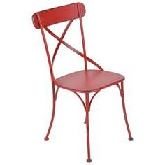 METAL CHAIR IN ANTIQUE RED COLOR 40X40X86