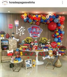 Paw Patrol Birthday Party Dessert Table and Decor