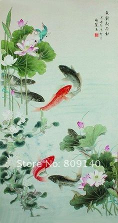free shipping oil painting canvas Fish Lotus Flower Chinese Artwork High Quality Handmade Home decoration office wall art decor-in Painting & Calligraphy from Home & Garden on Aliexpress.com   Alibaba Group