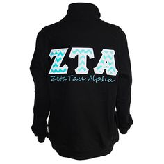 Spring weather can be unpredictable, so be prepared! Grab this cute and classy quarter-zip sweatshirt with chevron ZTA stitch letters to throw on over any outfit.