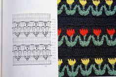 crochet diagram of tulip motifs! This is so cool and easy!!