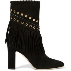 Tamara Mellon Texas Summer embellished suede ankle boots (7 495 SEK) ❤ liked on Polyvore featuring shoes, boots, ankle booties, tamara mellon, high heel booties, suede ankle boots, short black boots, black suede booties and ankle boots