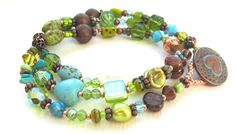 Triple Wrap Beaded Bracelet with Copper Turquoise and by nemeton