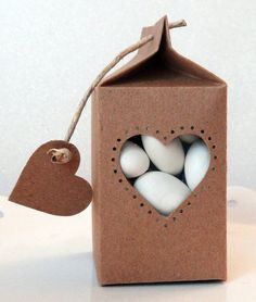Mini Milk Carton Favor Box with Heart Shaped Window- Set of 12 | Wedding Favors  | Shower Favors | Baptism Favors | Birthday Favors