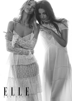 Rosie Huntington-Whiteley and (R) Lily Aldridge for Elle Australia's June 2016 'Best Friend' issue- (R) Burberry Spring 2016