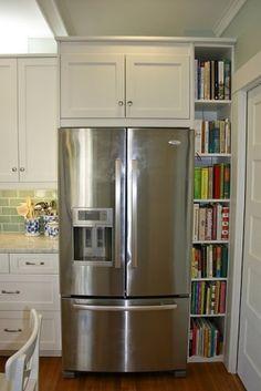 insert cookbook shelves or slide out pantry-Dream cookbook storage