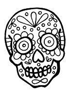 day of the dead and life-sized skeleton coloring sheets ... - Simple Sugar Skull Coloring Pages