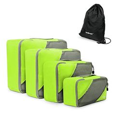 Camping Ideas :Lavievert Packing Cubes 4pc Set Travel Organizers Household Storage with Additional Laundry Bag - Green *** You can get more details here : Camping Ideas
