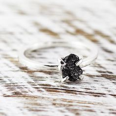 Black Diamond Ring Diamond Ring Sterling Silver Engagement Ring Wedding Ring Diamond Delicate Ring Unique Engagement Rough Diamond Ring