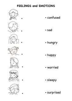 Worksheets On Emotion And Feelings For Kids - english teaching worksheets… Emotions Preschool, Teaching Emotions, Understanding Emotions, Feelings And Emotions, Preschool Learning, Teaching Kids, English Worksheets For Kindergarten, English Activities, Kindergarten Worksheets