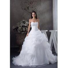 Hochzeit Trompeten-Stil Brautkleid mit Stickerei und langer Schleppe