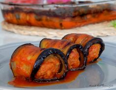 Eggplant rolls with minced meat Food for thought Meat Recipes, Recipies, Cooking Recipes, Eggplant Rolls, Eggplant Recipes, Little White Dresses, Ratatouille, Main Meals, Food For Thought