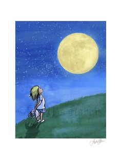 Murals Your Way - Girl with Man in the Moon Wall Art - Painted by Phyllis Harris, Girl with Man in the Moon wall mural from Murals Your Way will add a distinctive touch to any room Moon Painting, Painting Prints, Wall Art Prints, Paintings, Lily Painting, Boy Wall Art, Canvas Wall Art, Wall Mural, Murals Your Way