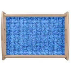Blue pixel mosaic serving tray $66.25 *** Blue pixel mosaic pattern - serving tray