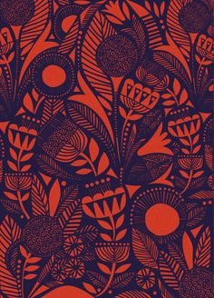 Sanna Annukka is a half-Finnish, half-English illustrator and printmaker with a love of nature and folklore Motifs Textiles, Textile Patterns, Print Patterns, Surface Pattern Design, Pattern Art, Nature Pattern, Stoff Design, Scandinavian Folk Art, Africa Art