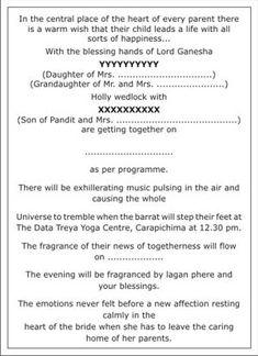Hindu Wedding Invitation Wordings Hindu Wedding Wordings Hindu