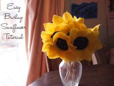How to make sunflowers using burlap squares and a canning lid!