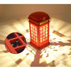 Vintage London Telephone Booth Designed USB Charging LED Night Smart Lamp Touch Sensor Table Desk Bedroom Students desk light