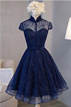 Blue Prom Dresses #BluePromDresses, Prom Dresses Lace #PromDressesLace, Navy Prom Dresses #NavyPromDresses, A-Line Prom Dresses #ALinePromDresses, High Neck Prom Dresses #HighNeckPromDresses