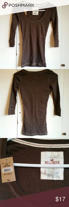Hollister Brown Shirt Brand new brown shirt from Hollister. Size small and round neck. 100% cotton Hollister Tops