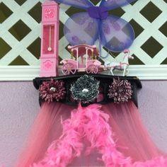 Photo by juliescottage Princess Canopy. Pink. Girls. Gerber Daisy. Cinderella. Vintage. Barbie clock.  Feather Boa. Hot Pink and Black Cornice. Zebra Print