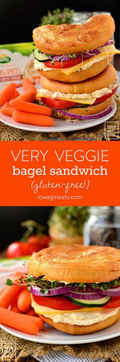 Very Veggie Bagel Sandwich is stuffed with fresh vegetables, herb &spice cream cheese, and mild muenster cheese. A healthy and satisfyingbreakfast or lunch idea! | iowagirleats.com