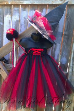 Black and Red Witch Tutu Dress with Puff Wand and Witch Hat for Halloween