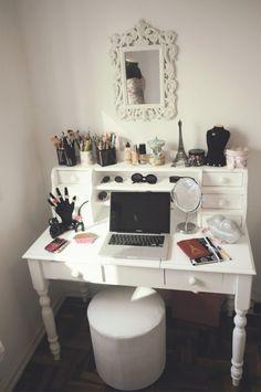 Old bills cabinet turned into makeup vanity