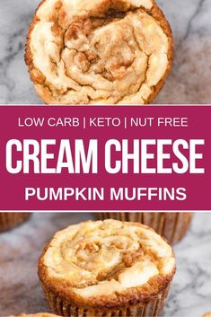 These keto cream cheese pumpkin muffins are the perfect fall recipe for anyone looking for ketogenic, low carb, sugar free, nut free or vegetarian pumpkin recipes. Serve these keto cream cheese pumpkin muffins for breakfast, brunch or take them to your ne Desserts Keto, Keto Friendly Desserts, Holiday Desserts, Pumpkin Cream Cheese Muffins, Cheese Pumpkin, Pumpkin Cream Cheeses, Pumpkin Cheesecake Muffins, Pumpkin Recipes, Fall Recipes