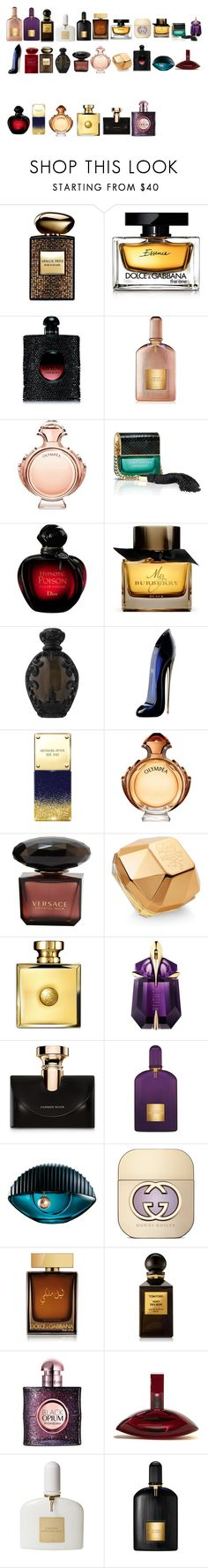 """Parfumes for fall and winter"" by azra-99 on Polyvore featuring beauty, Armani Beauty, Dolce&Gabbana, Yves Saint Laurent, Tom Ford, Paco Rabanne, Marc Jacobs, Burberry, Kat Von D and Carolina Herrera"