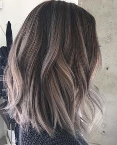 "10 Hottest Lob Haircut Ideas Not too short but not too long, the lob is the ideal choice for ladies who want something ""in-between"". Check out these super hot lob haircut i. Ombre Hair, Balayage Hair, Gray Balayage, Balayage Brunette, Ash Blonde, Balayage Straight, Ash Brown Hair Balayage, Lob Hair, Blonde Ombre"