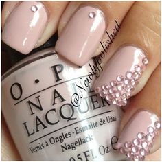 Baby pink nails with pink jewels Gorgeous Nails, Love Nails, How To Do Nails, Fun Nails, Glam Nails, Dark Nails, Baby Pink Nails, Nail Art, Healthy Nails