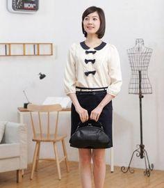#fashion women #  Women OL Style All Match Slim-fitting Skirt Black With Belt