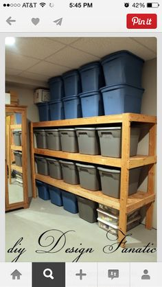 Storage. We need shelves like this in our basement