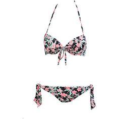 Floral Retro Bikini Bikinis Swimsuit Bathing Suit High Waist Bikini ($50) ❤ liked on Polyvore