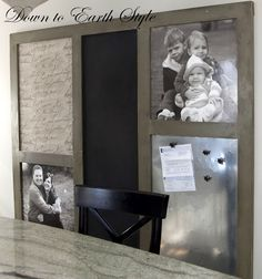 DISPLAY DIY IDEA - Large message board features a large chalk board...a sheet metal piece for magnets... a cork board covered in french script fabric...and photos
