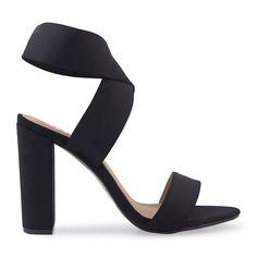 Black Lycra Ankle Wrap Sandal - Afroka   YDE Ankle Wrap Sandals, Shoes Sandals, Black Heels, High Heels, South African Fashion, Toe Shape, Heeled Mules, Stiletto Heels, Footwear