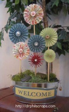 Flower arrangement made from Cricut Artiste - http://drphilscraps.com