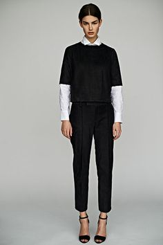 Calf skin leather top and pant