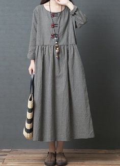 Plus Size Women Boho Loose Kaftan Dress Pocket Long Tunic Long Sleeve New  N2E8  3a4722b5fc