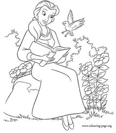 Belle was reading a book when she was surprised by a bird! Another beaultiful Beauty and The Beast coloring picture.